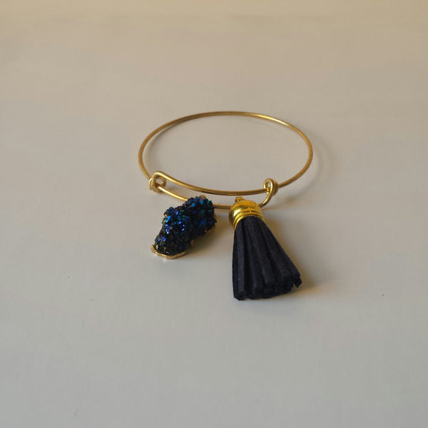 Gold Bracelet with a Navy Blue Tassel