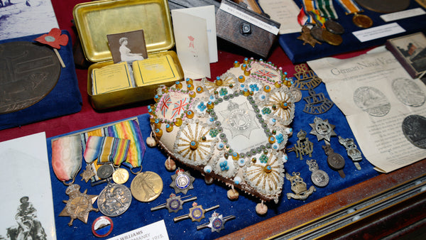 Wartime display of medals at Bygones