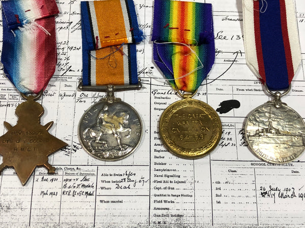 WWI Trio and Royal Fleet Reserve Long Service Medal GV