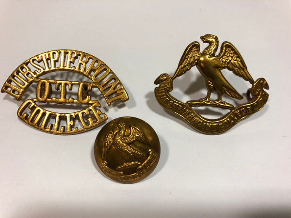 Hurstpierpoint O.T.C College Cap Badge, Shoulder Title and Button