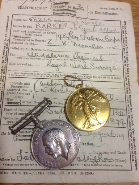 Genuine WWI War Medal and Victory Medal