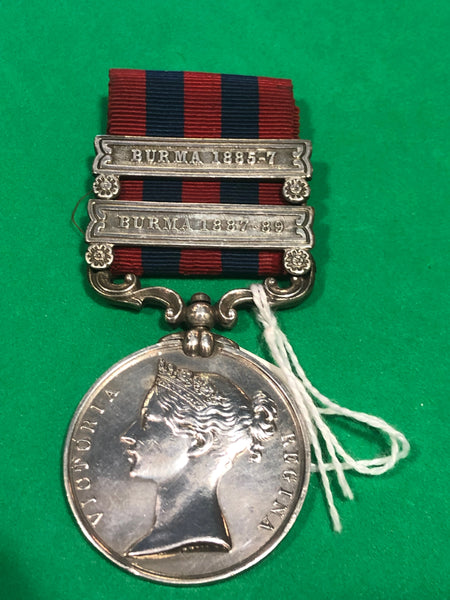 India General Service Medal 1854 2 Clasps Burma 1885-87 and Burma 1887-89