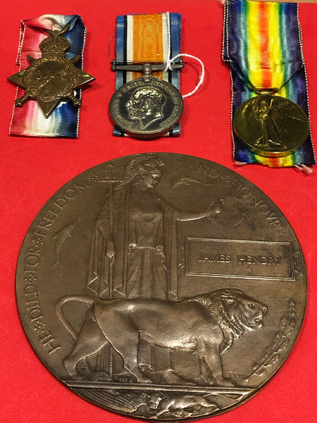 WWI Trio and Plaque 7349 Pte. J. Hendry 1st Bttn. Seaforth Highlanders