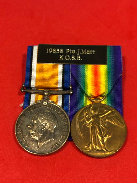 WWI Pair 19838 Pte. J. Marr Kings Own Scottish Borderers