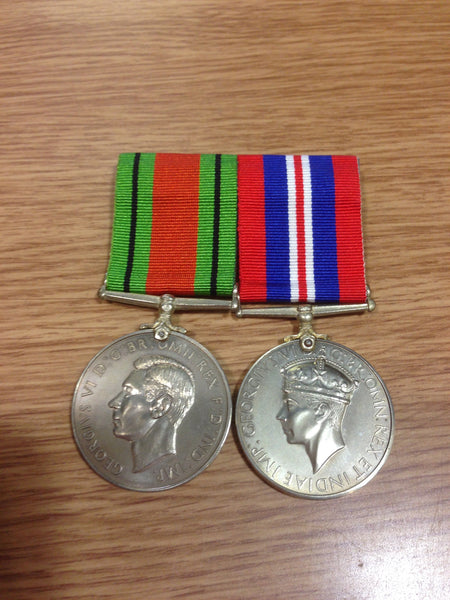 Genuine WWII Defence and War Medal Pair