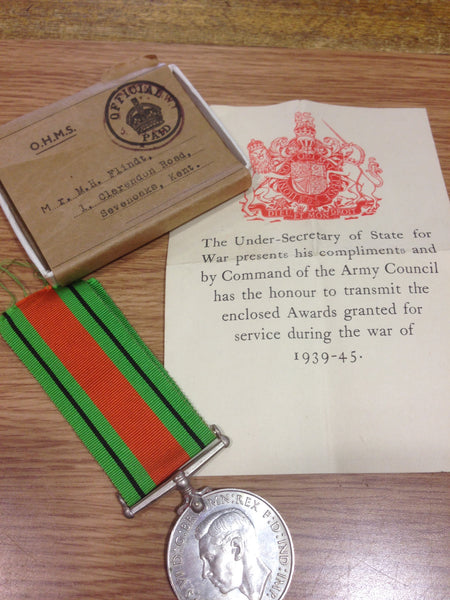 Genuine WWII Defence Medal in Original Box of Issue
