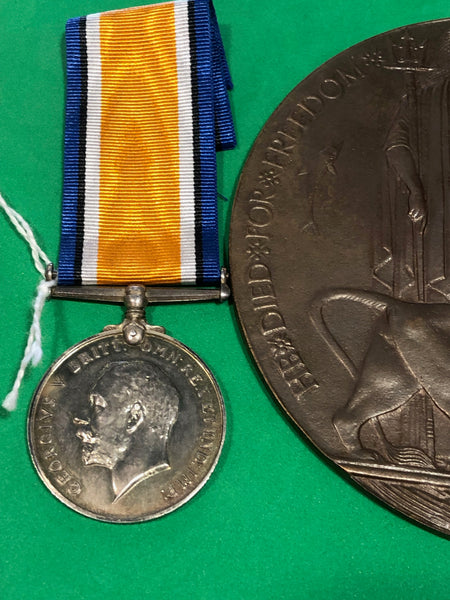 WWI Pair and Memorial Plaque Casualty