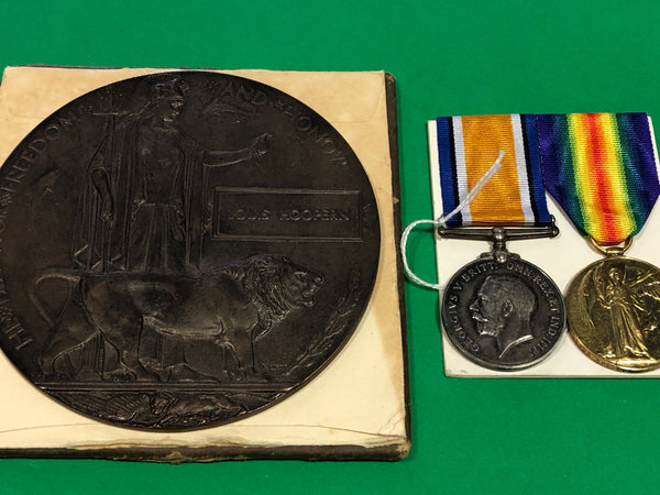 WWI Pair Casualty, Memorial Plaque with copy paperwork.