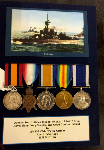 QSA/WW1 Trio /RN LSGC medal group to 194339 CPO Austin Marriage RN