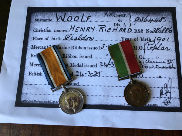 WW1 War Medal and Mercantile Marine Medal