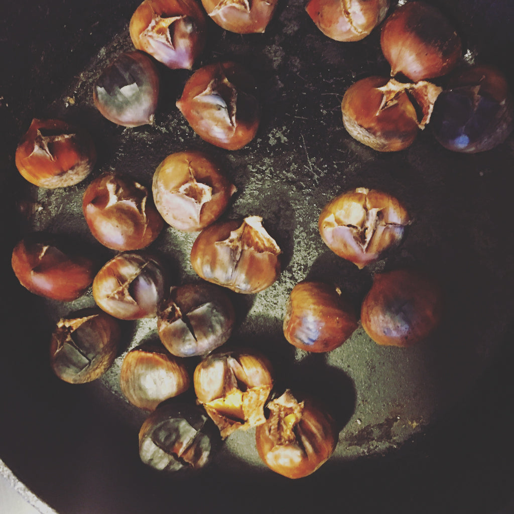 Chestnuts Roasting On An Open - Cast Iron Pan