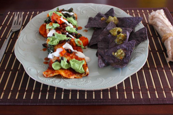 Sweet Potato and Black Bean Enchilada with Cilantro Avocado Sauce