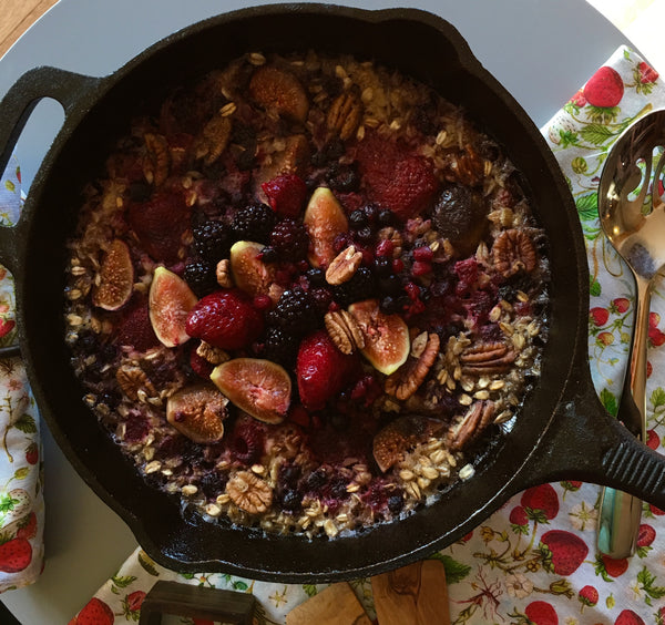 Oatmeal Skillet Urban Hippie Granola Cardamom Maple Oatmeal with Figs, Blackberries and Roasted Pecans