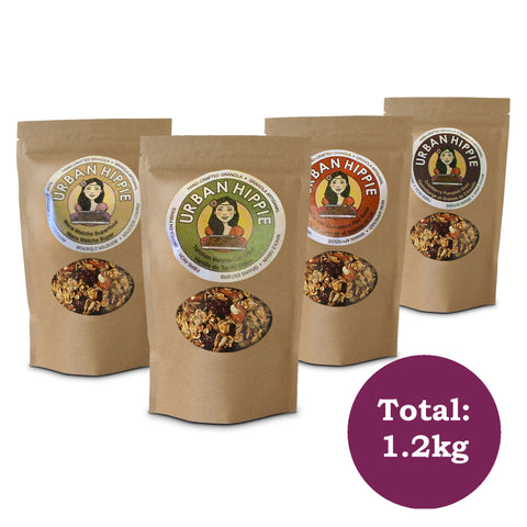 classic 4-pack variety of urban hippie granola in flavors maca matcha, superfood cranberry pumpkin seed, vanilla cinnamon flax seed, and tahitian vanilla coconut
