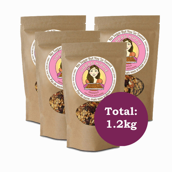 4-pack of urban hippie granola in no sugar but you so sweet flavor