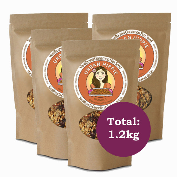 4-pack of urban hippie granola in vanilla and cinnamon flax seed flavor