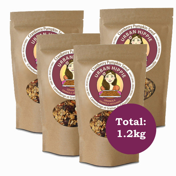 4-pack of urban hippie granola in cranberry pumpkin seed flavor