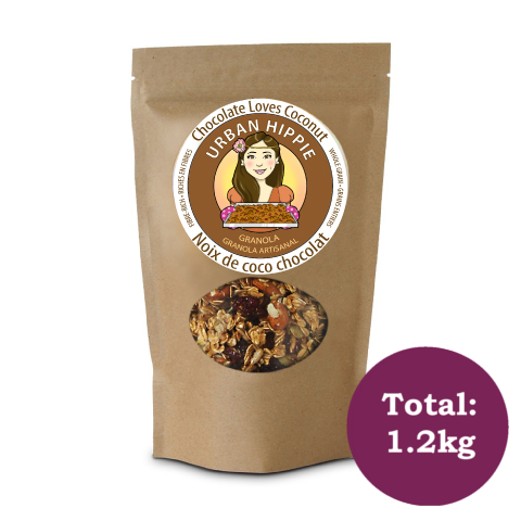 bag of urban hippie granola in chocolate loves coconut flavor
