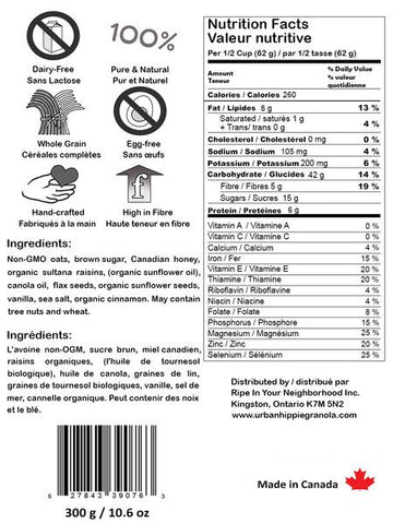 urban hippie vanilla and cinnamon flax seed granola nutrition facts