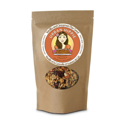 bag of urban hippie granola in vanilla and cinnamon flax seed flavor
