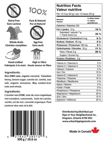 urban hippie tahitian vanilla coconut granola nutrition facts