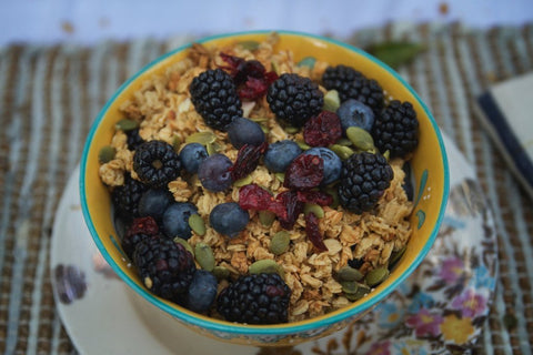 urban hippie cranberry pumpkin seed granola in a breakfast cereal with berries