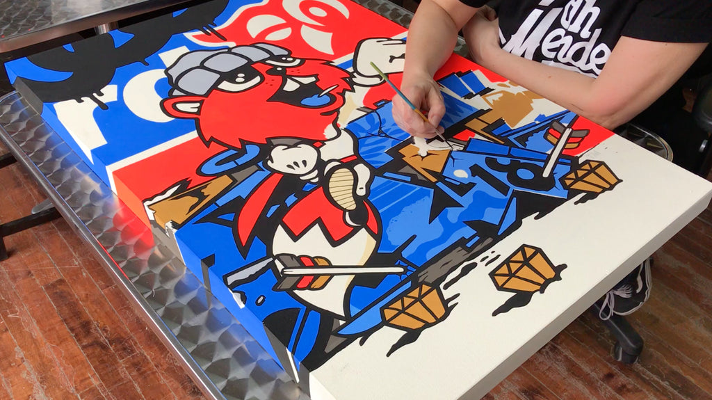 123klan canvas painting close up art graffiti paint street