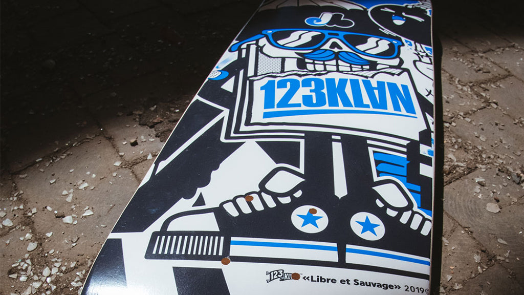 123klan deck 1xrun, graphic design, illustration, vector art skateboard