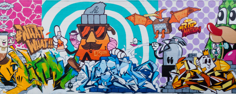 GRAFFITI MURAL POW WOW HAWAII 123KLAN SCIEN & KLOR