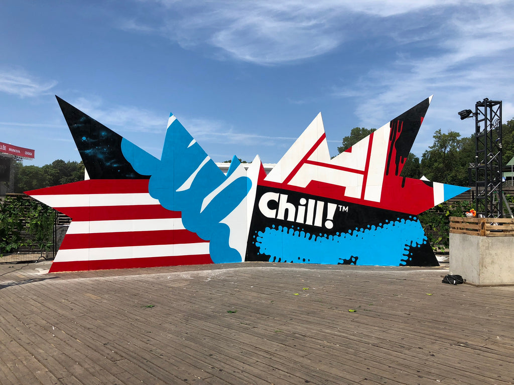 Chill mural art by 123klan klor scien,  at osheaga music festival