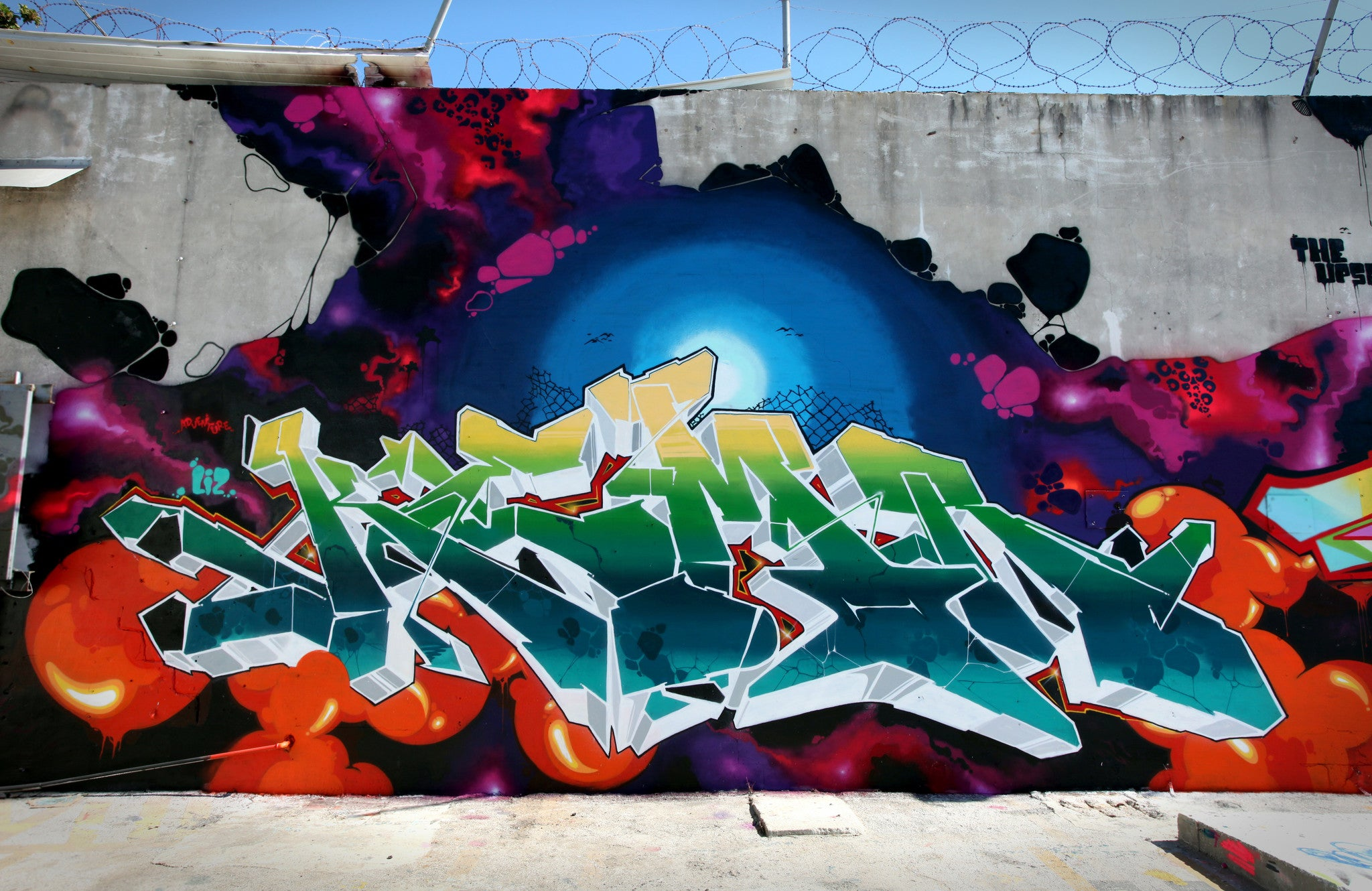 graffiti art piece wall kems kemer kem5 all chrome bandit1sm