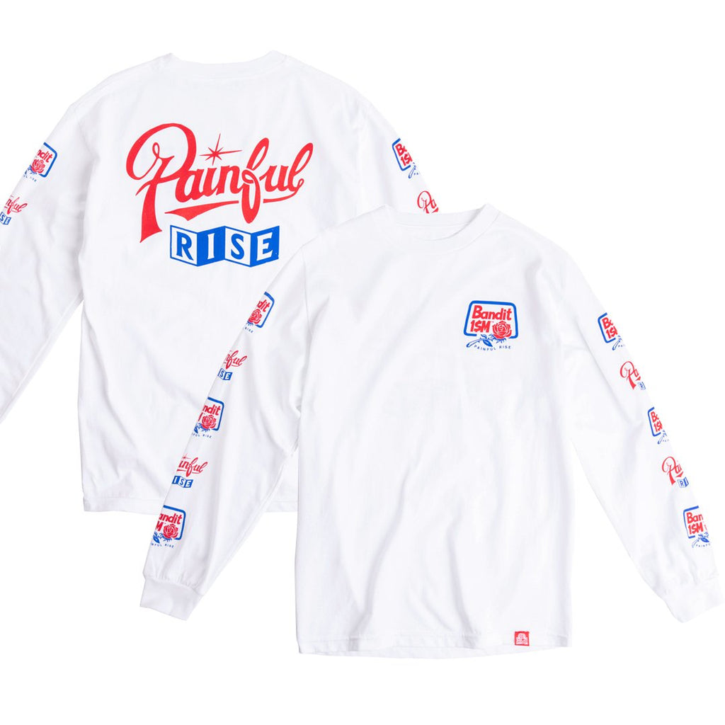 white long sleeves t-shirt with print on the sleeves, painful rise design, banditism, 123klan, vector, design graphic tee