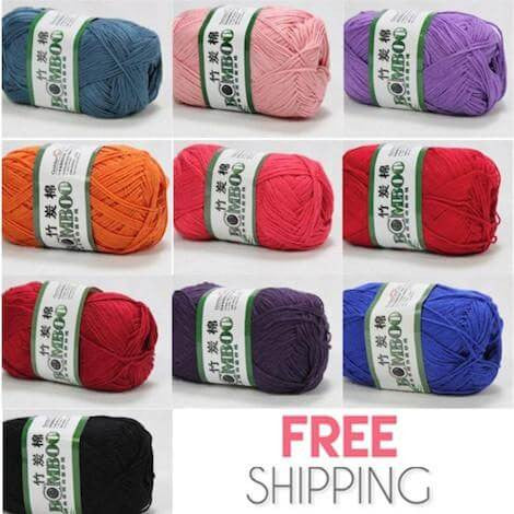 10x50g Of Soft Smooth Natural Bamboo Cotton / Baby Cotton Yarn (Rich Colors)