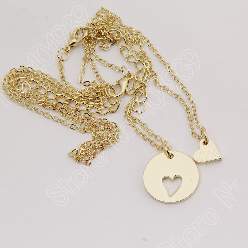 Mother & Daughter Heart Cutout Necklace