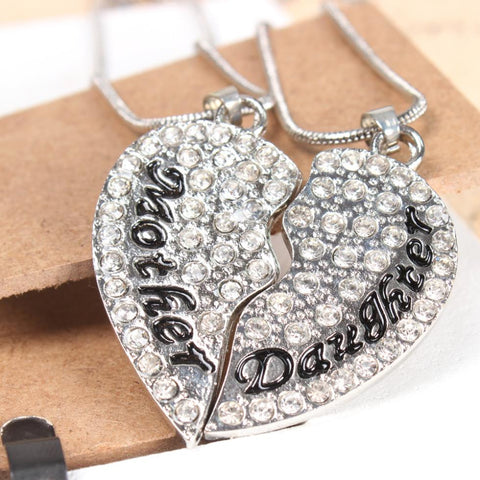 Mother & Daughter Rhinestone Heart Necklace