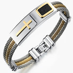 Gold Stainless Steel Cross Bracelet