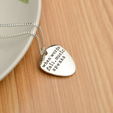 ★ FREE ★ When Words Fail. Music Speaks Necklace