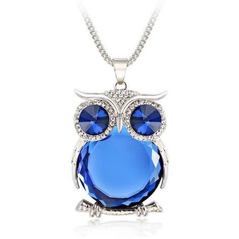 ★ FREE ★ Blue Crystal Owl Pendant Necklace