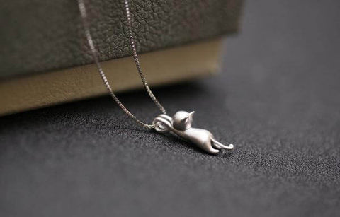Silver Climbing Cat Necklace