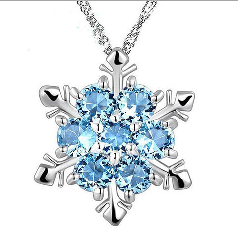 Lady Blue Crystal Snowflake Necklace