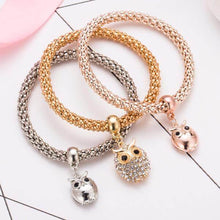 Load image into Gallery viewer, 3pcs Crystal Owl Bracelets