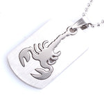 Silver Scorpion Dog Tag Necklace