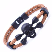 Load image into Gallery viewer, Skull Leather Bracelet
