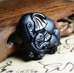 Black Obsidian Carved Elephant Necklace