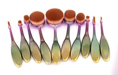 10pcs Oval Shaped Makeup Brushes