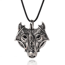 Load image into Gallery viewer, Norse Wolf Head Necklace