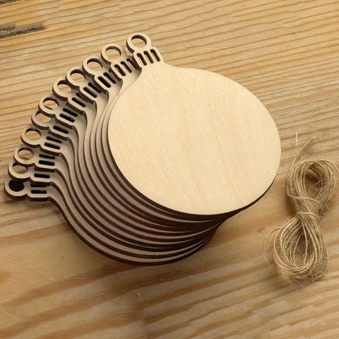 Wooden Round Baubles Tags