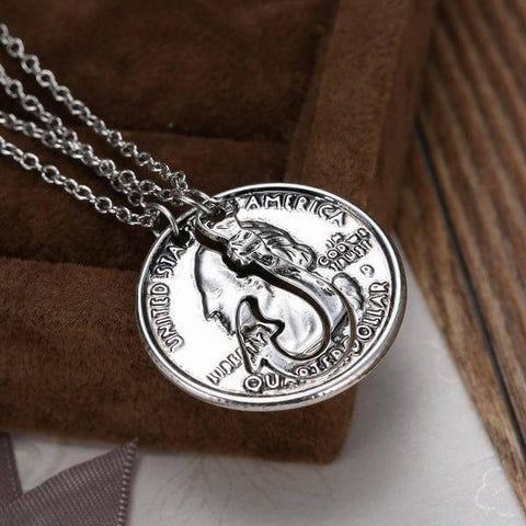 Coin Fish Hook Couple Necklace