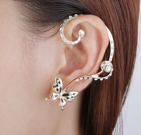 Rhinestone Butterfly Ear Cuff Earrings