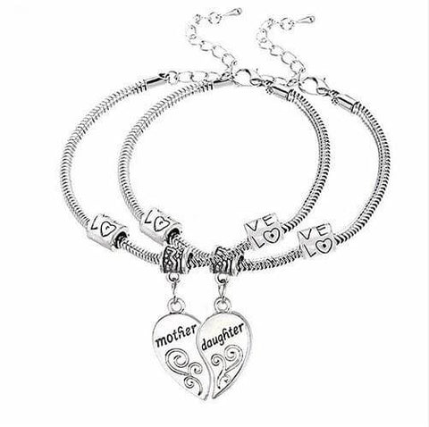 ★ FREE ★  2 Pcs Mother Daughter Love Heart Bracelets